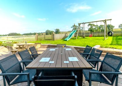 Outside dining area and children's play area